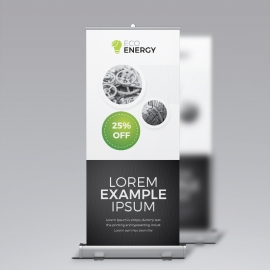Black Accent Business Rollup Banner With Cricle