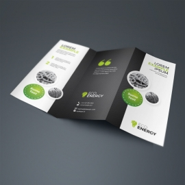 Black Accent Business TriFold Brochure With Cricle