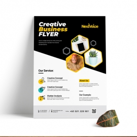 Black Accent Flyer With Hexagon