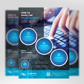 Black And Blue Corporate Flyer With Cricle