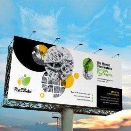Black And Cricle Billboard Banner Sinage