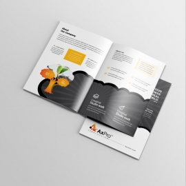 Black BiFold Brochure With Orange Tree Elements