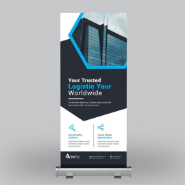 Black Blue Corporate Roll-Up Banner