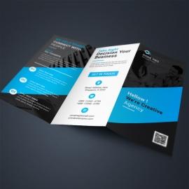 Black Blue Corporate TriFold Brochure