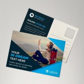 Black & Blue Postcard Design