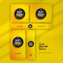 Black Friday Advertisement Web Banner Layout With Yellow