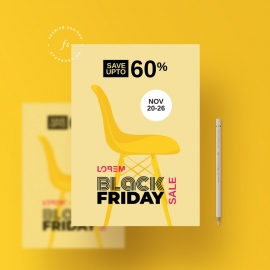 Black Friday Flyer With Yellow Color