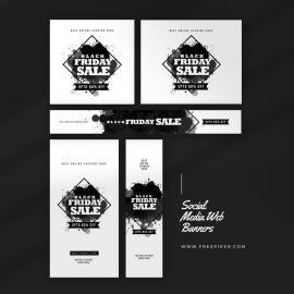 Black Friday Product Sale Web Banner Layout With Black Accent