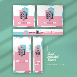 Black Friday Product Sale Web Banner Layout With Cyan Accent