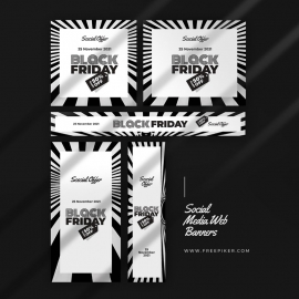 Black Friday Product Web Banner Layout With Black & White