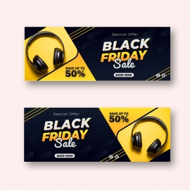 Black Friday Sale Flat Design Facebook Timeline Cover