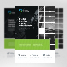 Black & Green Business Flyer With Boxs
