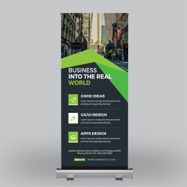 Black Green Corporate Roll-Up Banner