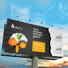 Black & Oranes Billboard Banner With Tree Elements