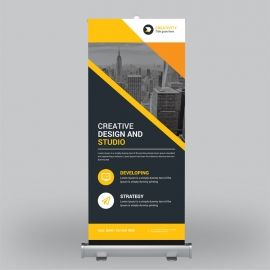 Black Orange Corporate Roll-Up Banner