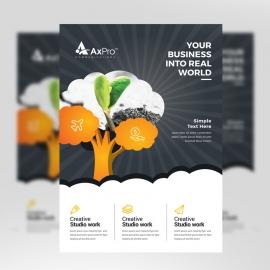 Black & Orange Flyer With Tree Elements