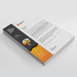 Black Orange Letterhead With Tree Elemens