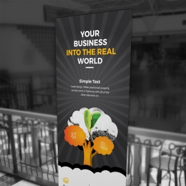 Black & Orange Rollup banner With Tree