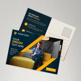 Black Postcard With Orange Concept