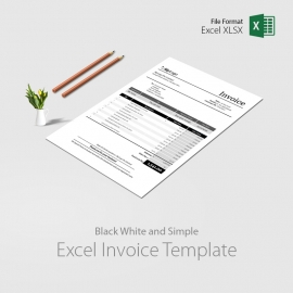 Black White Excel Invoice with Auto Calculation