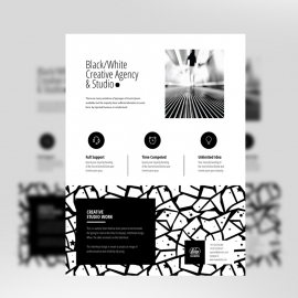 Black White Flyer With Texture Elements