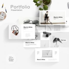 Black & White Portfolio Powerpoint Presentation