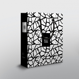 Black White Shopping Bag With Texture