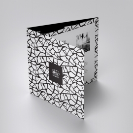 Black White Squar Trifold Brochure