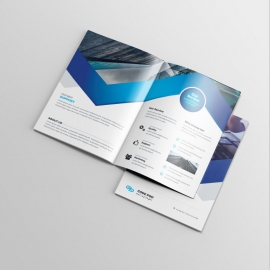 Blue Accent BiFold Brochure With Abstract