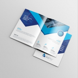 Blue Accent Business Bifold Brochure With Abstract