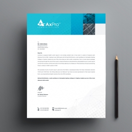 Blue Accent Business Letterhead With Boxs