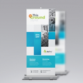 Blue Accent Business Rollup Banner With Boxs