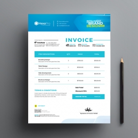 Blue Accent Clean Business Invoice