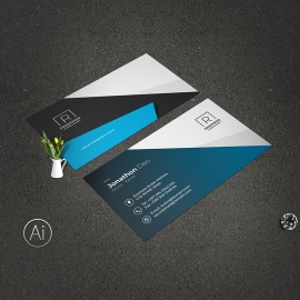 Blue Accent Clean Simple Business Card