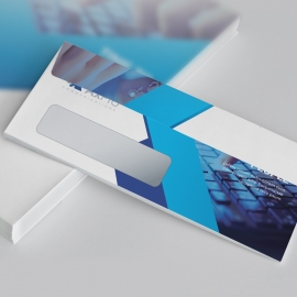 Blue Accent DL Envelope Commercial With Abstract