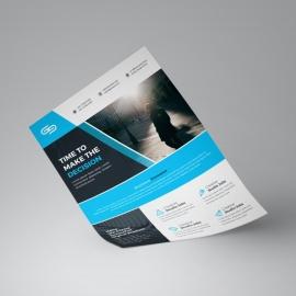 Blue And Black Business Flyer Template