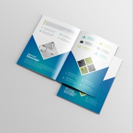 Blue And Green Accent BiFold Brochure With Hexagon