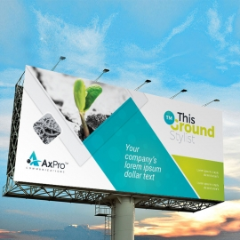 Blue And Green Accent Billboard Banner With Abstract