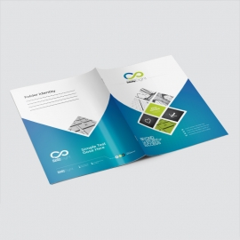 Blue And Green Accent Presentation Folder With Hexagon