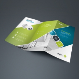 Blue And Green Accent TriFold Brochure With Abstract