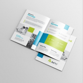 Blue And Green BiFold Brochure With Boxs