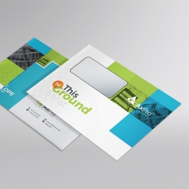 Blue And Green Business B5 Envelope With Boxs