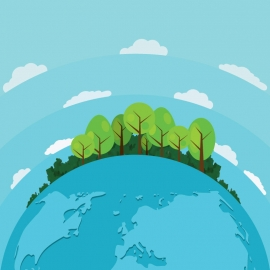 Blue Background with Planet Earth and Trees