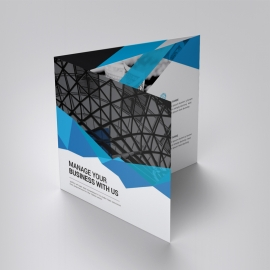 Blue Business Square TriFold Brochure