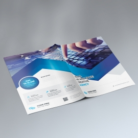 Blue Color Business Presentation Folder With Absract
