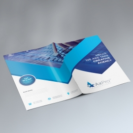 Blue Color Presentation Folder With Abstract