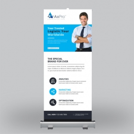 Blue Corporate Roll-Up Banner