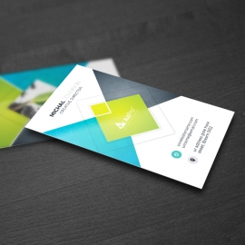Blue / Green Accent Clean Simple Business Card