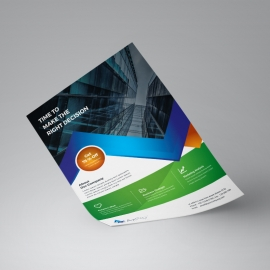 Blue / Green Business Flyer With Abstract