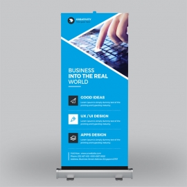 Blue & Green Business Roll-Up Banner